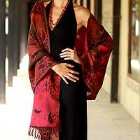 Jamawar wool shawl, 'Modern Delight' - Modern Multicolor Jamawar Style Wool Shawl