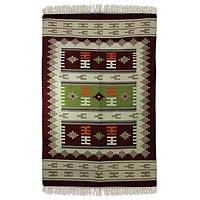 Wool area rug, 'Indian Wintergreen' (4x6) - Burgundy Handwoven Wool Dhurrie Accent Rug (4 x 6)