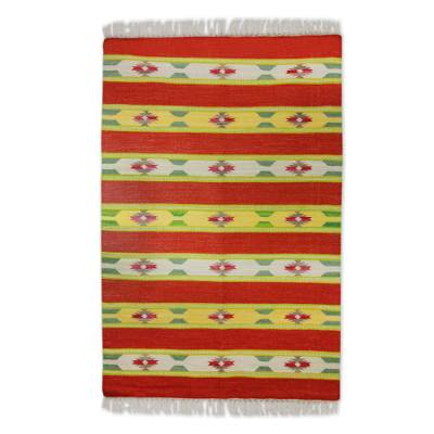 Wool area rug, Scarlet Garden (4x6) - Red and Yellow Handwoven Wool Dhurrie Rug (4 x 6)