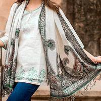 Jamawar wool shawl, 'Floral Waves' - Cream Color Wool Jamawar Shawl Wrap with Green and Lilac