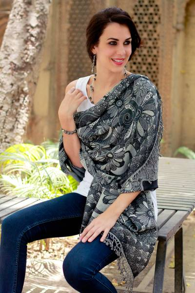 Jamawar wool shawl, 'Daisy Realm' - Black and Gray Wool Jamawar Shawl Wrap
