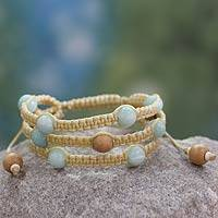 Amazonite Shambhala-style bracelet, 'Peaceful Nature' - Fair Trade Macrame Amazonite Shambhala-style Bracelet
