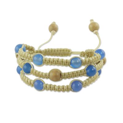 Fair Trade Macrame Chalcedony Shambhala-style Bracelet