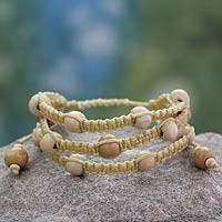Wood Shambhala-style bracelet, 'Peaceful Spirit' - Fair Trade Macrame Wood Bead Shambhala-style Bracelet