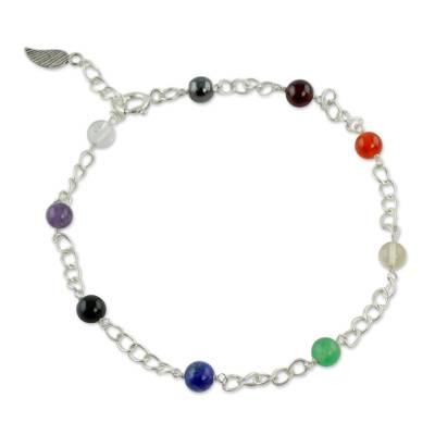 Hand Made Gemstone Chakra Anklet from India