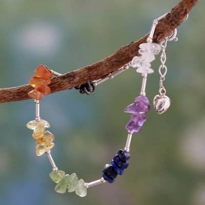 Multi-gemstone chakra bracelet, 'Sense of Peace' - Multi Gemstone Sterling Silver Bracelet Chakra Jewelry