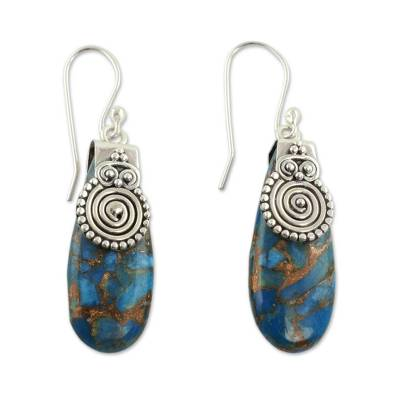 Turquoise Color Earrings Hand Crafted in Sterling Silver