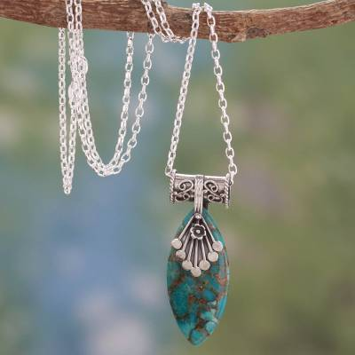 Sterling silver pendant necklace, 'Jaipur Legacy' - Sterling Silver Necklace with Turquoise Color Gem