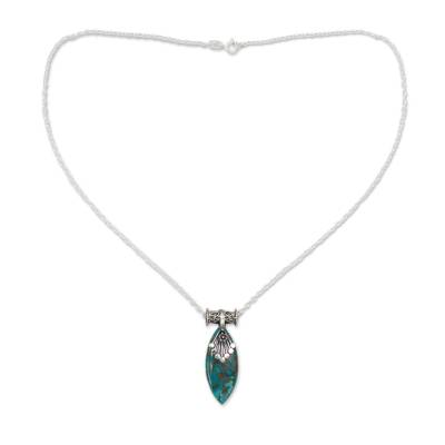 Sterling Silver Necklace with Turquoise Color Gem