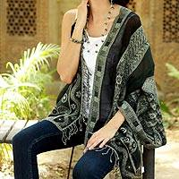 Jamawar wool shawl, 'Paisley Mandalas' - Warm Jamawar Shawl Wool Wrap from India