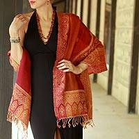 Jamawar wool shawl, 'Crimson Riches' - Red Orange Yellow Jamawar Wool Shawl