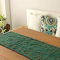 Embroidered table runner, 'Forest Green Wonderland'