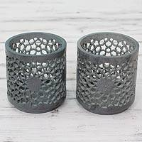 Soapstone tealight holders, 'Mughal Stars' (pair) - Intricate Openwork on Soapstone Tealight Holders (pair)