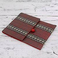 Cotton iPad sleeve, 'Assam Fields' - Hand-woven Cotton Tablet Case Fully Lined and Padded