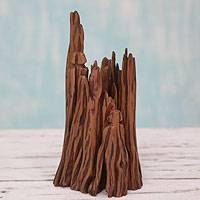 Reclaimed wood sculpture, 'Stroll in the Jungle II' - Indian Abstract Sculpture from Reclaimed Wood