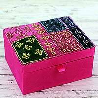 Embellished jewelry box, 'Fuchsia Garden' - Glass Beadwork Jewelry Box