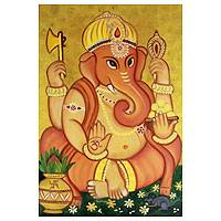 'In Deep Prayer' - Original Ganesha Religious Painting