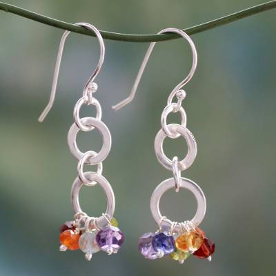 Multi-gemstone chakra earrings 'Radiance' - Sterling Silver Earrings Multi Gemstone Chakra Jewelry