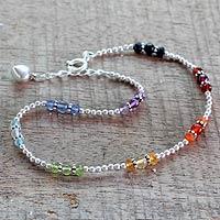 Multi-gemstone chakra anklet, 'Harmonious Energy' - Multi Gemstone Sterling Silver Anklet Chakra Jewelry