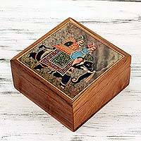Teak and soapstone jewelry box, 'Elephant Journey' (India)