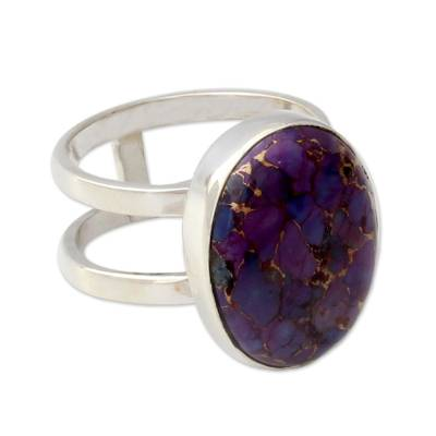 Purple Composite Turquoise Sterling Silver Ring