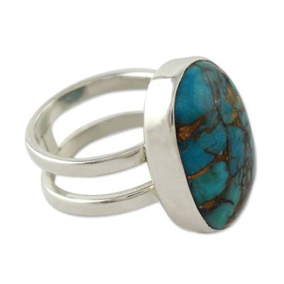 Blue Composite Turquoise Sterling Silver Ring