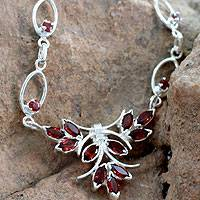 Garnet pendant necklace, 'Love's Spark' - 3.6 Ct Garnet and Sterling Silver Necklace