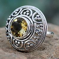 Citrine cocktail ring, 'Dazzle' - Fair Trade Citrine and Sterling Silver Cocktail Ring