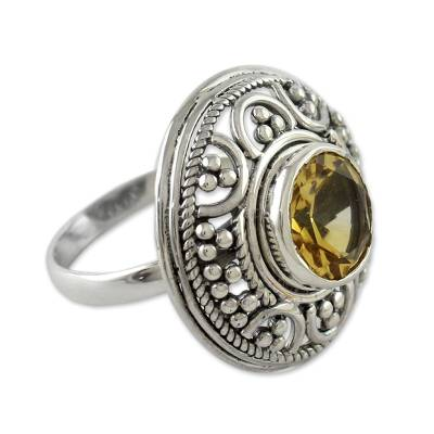 Fair Trade Citrine and Sterling Silver Cocktail Ring