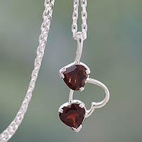 Garnet heart necklace, 'Romantic Triad' (India)
