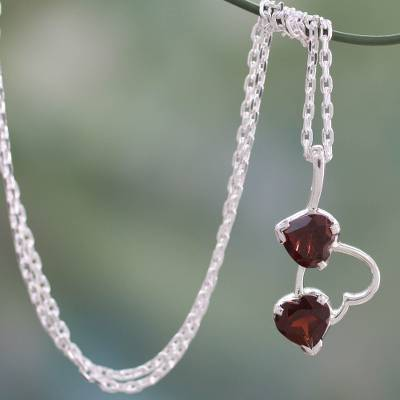Garnet heart necklace, 'Romantic Triad' - Garnet and Sterling Silver Heart Necklace