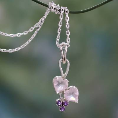 Rose quartz and amethyst heart necklace, 'Celebrate Love' - Romantic Rose Quartz and Amethyst Sterling Silver Necklace