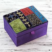 Embellished jewelry box, 'Amethyst Garden' - Glass Beadwork Jewelry Box