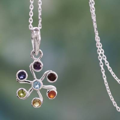 Multi-gemstone chakra necklace, 'Harmony Within' - Multi Gemstone Sterling Silver Necklace Chakra Jewelry