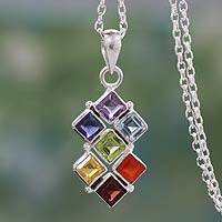 Multi-gemstone chakra necklace, 'Wellness' - Multi Gemstone Sterling Silver Necklace Chakra Jewelry