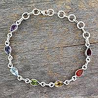 Multi-gemstone chakra bracelet, 'Inner Glow' - Sterling Silver Bracelet Multi Gemstone Chakra Jewelry