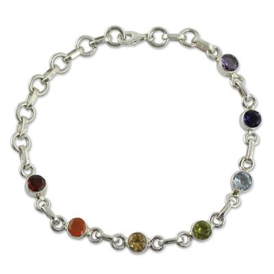 Sterling Silver Bracelet Multi Gemstone Chakra Jewelry