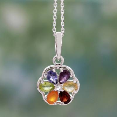 Multi-gemstone chakra necklace, 'Energy Bloom' - Floral Chakra Jewelry Multi Gem Necklace