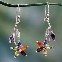Multi-gemstone chakra earrings 'Blossoming Energy' - Multi Gemstone Sterling Silver Earrings Chakra Jewelry