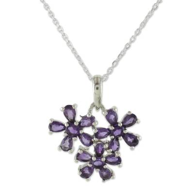 Amethyst Flowers on Sterling Silver Necklace