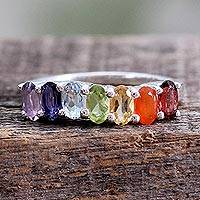 Multi-gemstone chakra ring, 'Positivity' - Multi Gemstone Sterling Silver Ring Chakra Jewelry