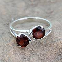 Garnet cocktail ring, 'Encounters' - Garnet and Sterling Silver Ring Handcrafted Jewelry
