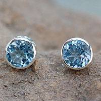 Blue topaz stud earrings, 'Spark of Life' - Blue Topaz Stud Earrings Sterling Silver Jewelry