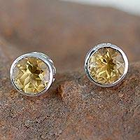 茶晶 Stud Earrings,'Life's Spark' -  Citrine Stud耳环纯银珠宝