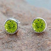 Peridot stud earrings, 'Spark of Life' - Peridot Stud Earrings Sterling Silver Jewelry