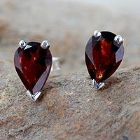 Garnet stud earrings, 'Devotion' - Unique Handcrafted Women's Stud Earrings