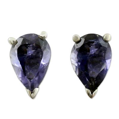 Fair Trade Iolite Stud Earrings 2.5 cts