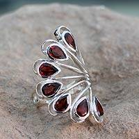 Garnet cocktail ring, 'Wing of Love' - 3.5 Cts Garnet and Sterling Silver Ring from India Jewelry