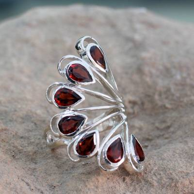silver ring necklace kay - 3.5 Cts Garnet and Sterling Silver Ring from India Jewelry