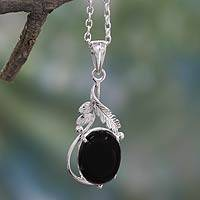 Onyx pendant necklace, 'Mystic Treasure' - Sterling Silver Necklace with Onyx Leafy Pendant